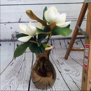 🆕 NEW Three Hands Ceramic Vase with Magnolias
